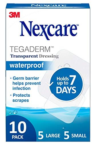 Nexcare Tegaderm Waterproof Transparent Dressing Provides protection to minor burns cuts blisters and abrasions 10 Ct Assorted Sizes