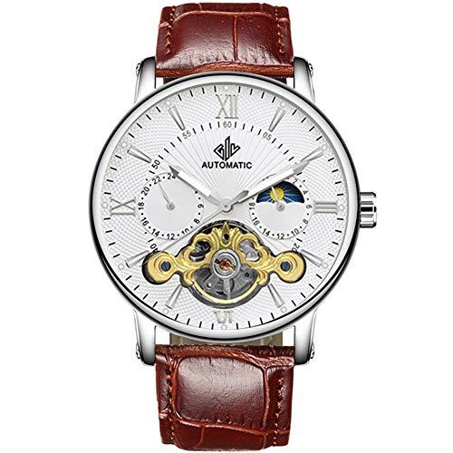 Reloj Hombre Automático Moda Lujo Esqueleto Reloj mecánico Cuero Genuino Reloj Masculino Reloj Impermeable