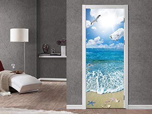 FLFK 3D Sol Playa del océano PVC Adhesivo Fotográfico Vinilos Puerta Pegatina Pared Murales para Cocina Sala de Baño Decorativos 77X200cm