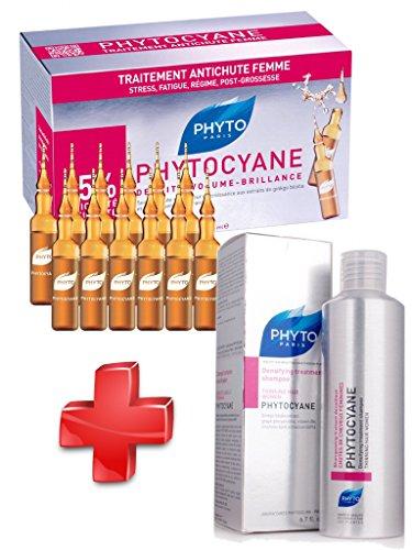 Phyto - KIT Phytocyane - Phytocyane Soin Antichute Stimulateur de Croissance Femme 12 Ampoules + Shampooing traitant Densifiant CHUTES DE CHEVEUX 200ml