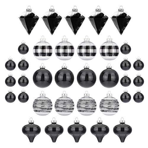 Busy Bee - Set di 36 palline di Natale, infrangibili, 100 mm, 80 mm e 50 mm, colore: Nero