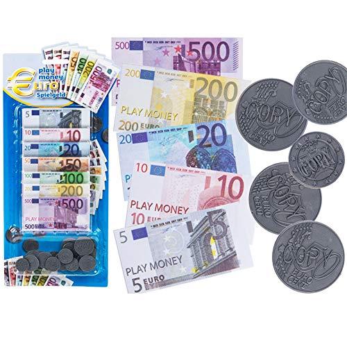 LCDG Argent factice : 50 Fausses pièces de Monnaie et 70 Faux Billets en Euros