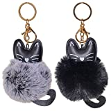 Dreams and Whispers 2 Pack Cute Novelty Black and Gray Kitty Cat Keychain Faux Fur Ball Pom Pom Key Chain Ring for Women Girls Bag Pendant (Black and Gray Cat)