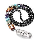 CrystalTears 7 Chakra Kristall Mala Halskette Wire Wrap Baum des Lebens Bergkristall Anhänger Edelstein Lebensbaum Yoga Gebetskette für Frauen Mädchen Reiki Healing Meditation Obsidian