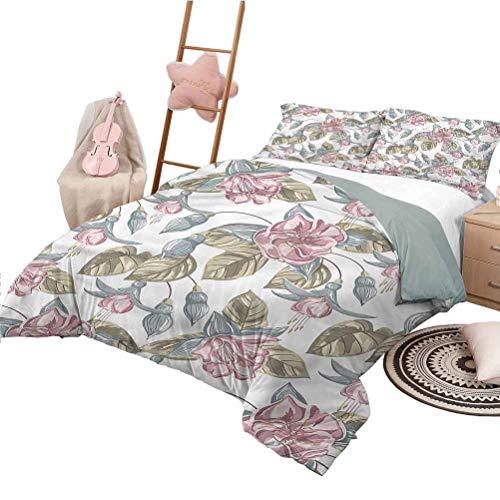 Nomorer Conjuntos de Ropa de Cama King Size Vintage Floral Pattern Bed Cover Shabby Chic Bouquet