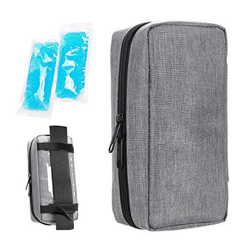 YOUSHARES Insulin kühltasche Reise Tasche - Medikamente Diabetiker Isoliert Tragbaren Kühler Tasche für Insulin Pen und Diabetes kühltasche mit 2 Kühlakkus, Grau