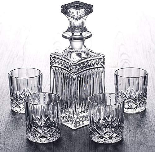 Decantador de vino de vino de cráneo y gafas Set Conjunto de decantores de whisky - Conjunto de regalos para hombres, 700 ml Decantador con 6 gafas de vidrio de cristal (220 ml) Fijador de licor para