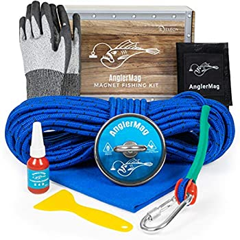 AnglerMag Magnet Fishing Kit Strong 1000 lb Magnetic Fishing Kit with Rope 9 Piece Complete Set Super Powerful Neodymium Fishing Magnet Kit for Salvage & Treasure Hunting in Rivers Oceans & Lakes