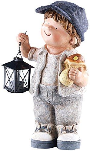 Royal Gardineer Magnesia Figuren: Handbemalte Deko-Figur Klein-Willy mit Laterne (LED Figuren)