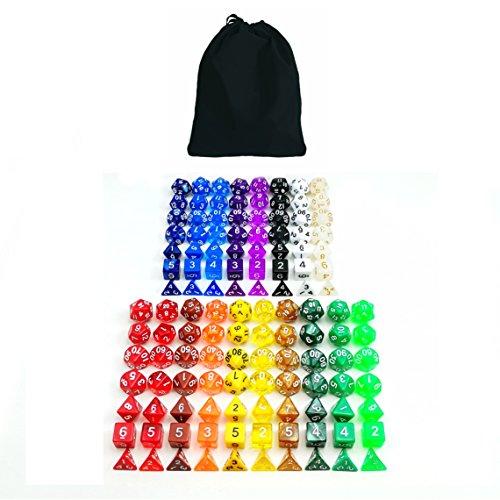 BESCON DICE 126 Würfeln 18 Set Dungeon und Dragons Würfeln farbige Würfeln in 18 Farben, 18 x 7 (126 Stück) Hochwertige Polygonal Würfel Spielwürfel, 18 Farben, Schwarz Samt Tasche Paket