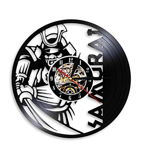 GenericBrands Disco de Vinilo Reloj de Pared Samurai CD Retro de Vinilo artístico Colgante Hecho a Mano clásico Diseño Decoración del hogar Regalos 12 Pulgadas - Sin luz LED