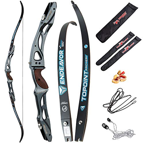 """66/68/70 Inch Archery Competition Athletic Bow Takedown Shooting Recurve Bow 25"""" ILF Metal Bow Riser Right Handed with Bow Stringer Tool for Adult,Youth,Teens"""