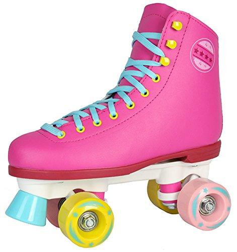 Selltex Kinder Rollschuhe NEU 34 35 36 37 38 39 40 Pink weiß schwarz Discoroller Disco Damen (Pink, 40)