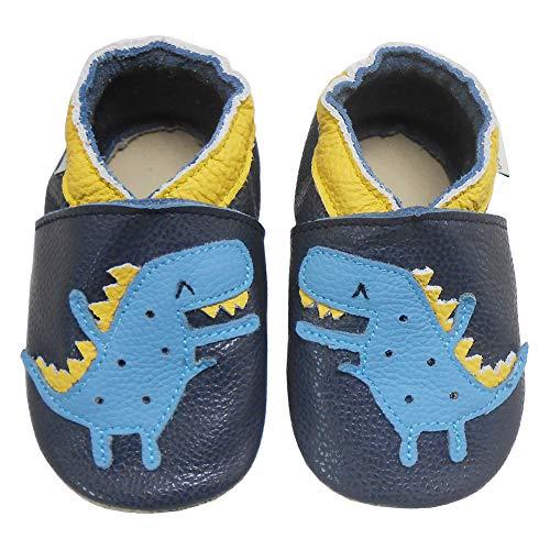 Bemesu Baby Krabbelschuhe Lauflernschuhe Lederpuschen Kinder Hausschuhe aus weichem Leder für Mädchen und Jungen Dunkelblau Krokodil (L, EU 21-22)