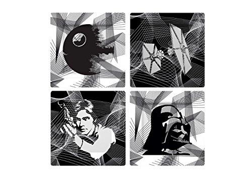 Star Wars Juego de platos: Intergaláctico (4 unidades), melamina, gris, 21 x 21 x 2 cm
