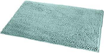 Amazon Basics Non-Slip Microfiber Shag Bathroom Rug Mat 21  x 34  Seafoam Green