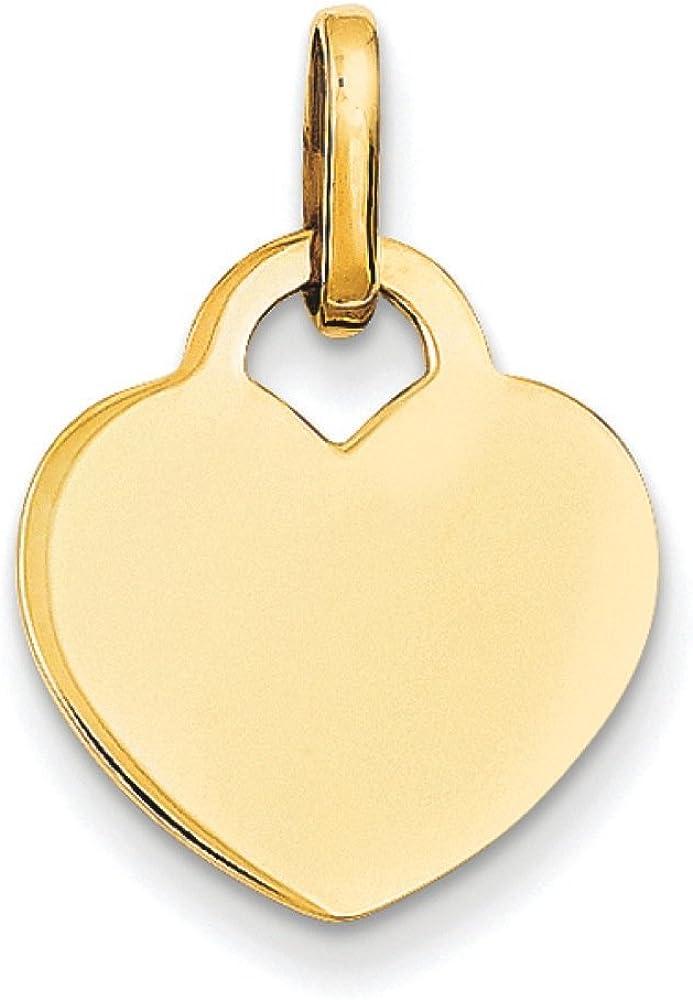 14K Yellow Gold Engravable Flat Heart Charm Pendant