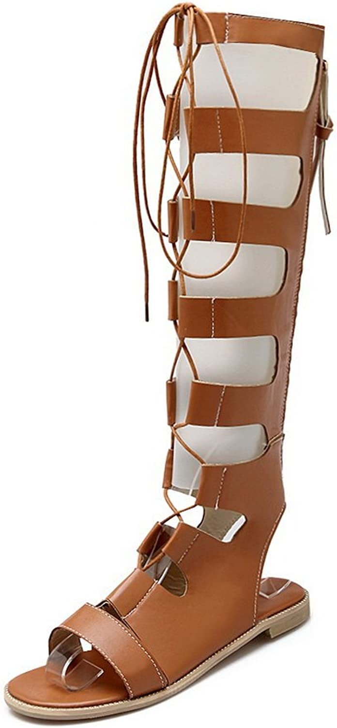 1TO9 Ladies Romanesque Lace-Up Closure Zipper Brown Soft Material Sandals - 7.5 B(M) US
