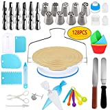 Cake Decorating Supplies Kit- 128 PCS Completed Decorating Set With Stands, Piping Tips, Pastry...