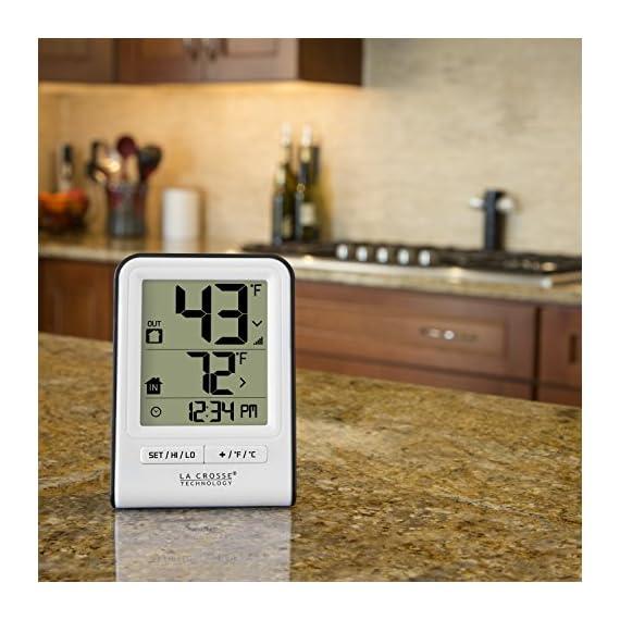 La Crosse Technology 308-1409WT-CBP Wireless Temperature Station, White 5 Monitors indoor & wireless outdoor temperatures (F/C adjustable) Hi/low records of temperature values Indoor Humidity (%RH)