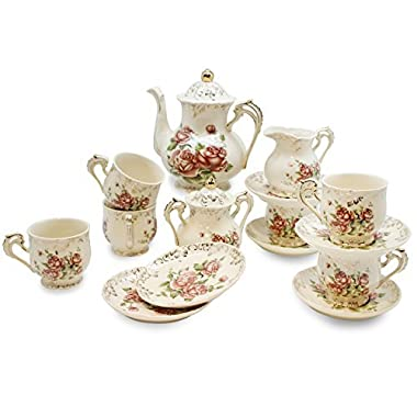 European Red Rose Tea Set , Teapot Set -15 pcs Includes Cup and Saucer , Creamer and Sugar Set and Teapot for Wedding , Tea Party , Evening Dinner