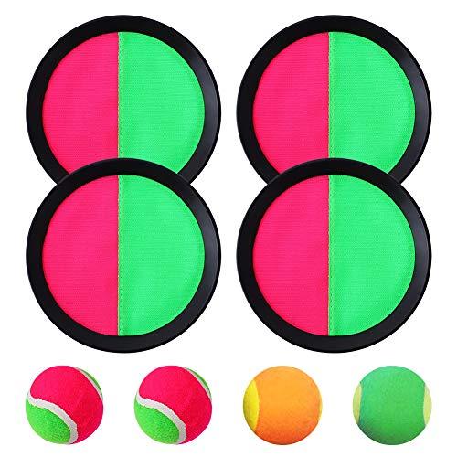 Paddle Catch Ball and Toys Toss Set Disco Paddle e Toss Ball Sport Game, Toss and Catch Game Set, 4 Paddle e 4 Balls, Nero