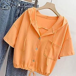 Wxcgbdx Womens T Shirts, 1Pc Cotton Hoodie O-neck T-Shirt Women Loose Blouse Summer Short-sleeved Shirt Women (Color : Ora...