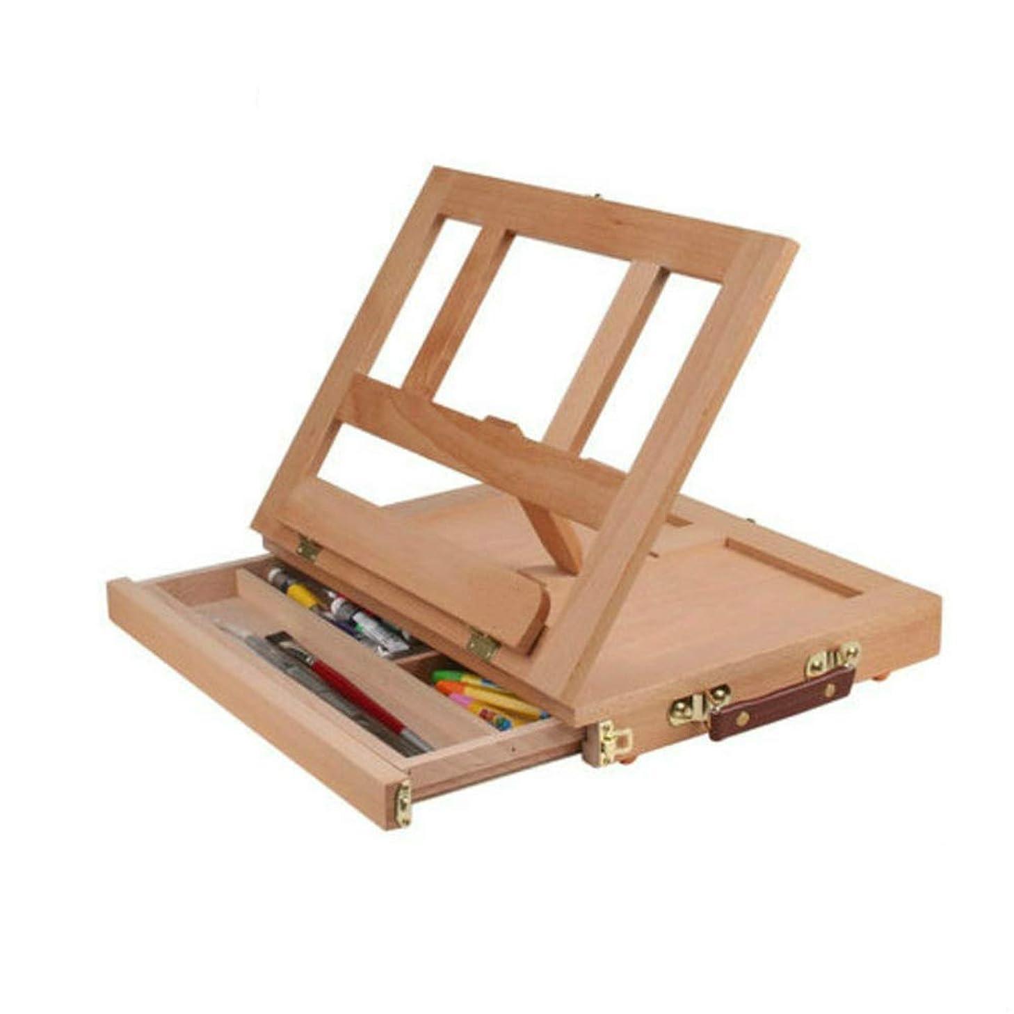 バブル馬鹿意図するイーゼル 油絵イーゼル調節可能木製テーブルイーゼル付きの引き出しボックスポータブルハードウェアのアート用品木の色 調整と使用が簡単 (色 : Burlywood, Size : One size)