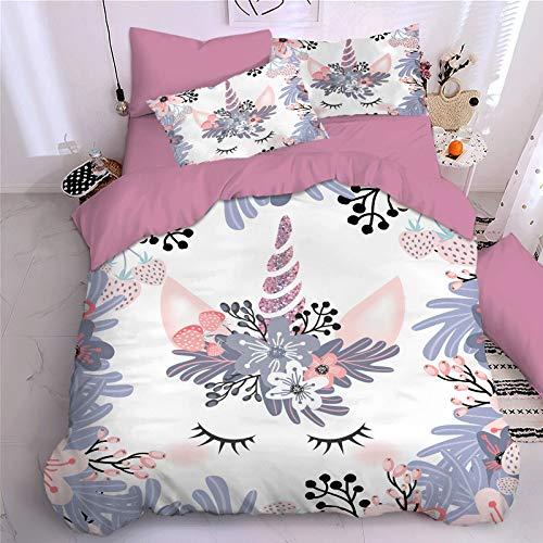 Pinkes Einhorn-Bettbezug-Set für Kinder, Mädchen, Cartoon-Motiv, Einhorn-Tagesdecke, Mikrofaser, psychedelisch, Bettdeckenbezug, (F,135 x 200 cm)