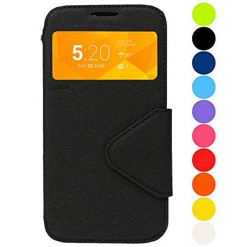 Roar Premium Hülle für Samsung Galaxy S8 Handyhülle, Flip Hülle Schutzhülle Tasche Hülle für Samsung Galaxy S8, Klapphülle mit Fenster in Schwarz