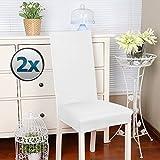 coprisedie con schienale 2 pezzi Elasticizzato Copertura della sedia bi-elastico per una misura universale,Coppia spandex Coprisedia molto facile da pulire e di lunga durata(Confezione da 2, Bianca)-J