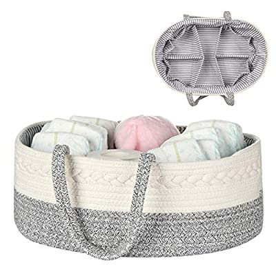 Baby Diaper Caddy Organizer -100% Cotton Baby Basket Bin with Removable Divider -Portable Tote Bag Storage Basket for Boy & Girl Nursery Organization (White & Gray Variegated) from maxgoods
