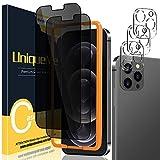 UniqueMe [2 Pezzi] Privacy Pellicola Protettiva compatibile con iPhone 12 Pro Max 6,7 Vetro Temperato e [3 Pezzi] Pellicola Fotocamera compatibile con iPhone 12 Pro Max 6.7 [Facileinstallare].