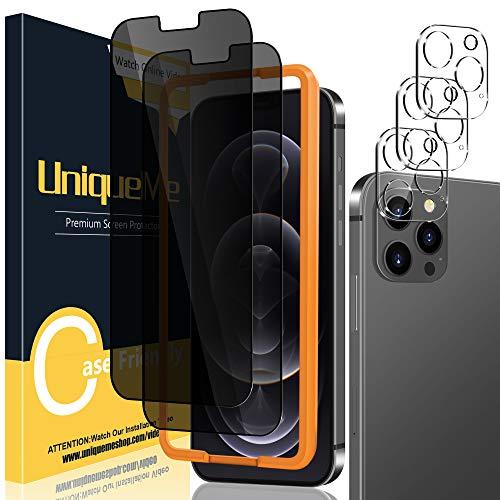 [2+3 Pack] UniqueMe Compatible con iPhone 12 Pro Max 6.7 Pulgadas Intimidad Protector de Pantalla y Protector de Lente de cámara [Anti Voyeur] Vidrio Templado [9H Dureza] Film Cristal Templado
