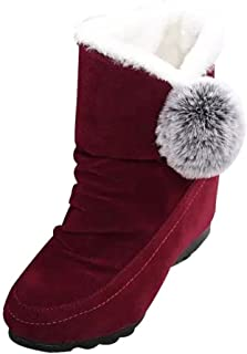 Voberry Women's Fur Lined Boots Indoor Outdoor Snow Slippers Boots Flat Ankle Shoes