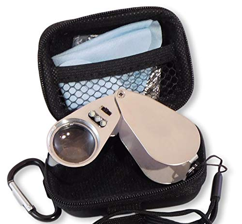 Jewelers Loupe 40x Magnifier with LED/UV Illumination and Unbreakable EVA Case ( No Logo Design) by Wesley's as you wish