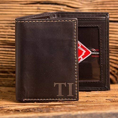 Black Mens RFID Protected Genuine Leather Monogrammed Tri-Fold Wallet with Custom Personalization Brown