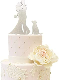 Wedding Anniverary Family Cake Topper Bride Groom with One Dog A Dog (Glitter Silver)