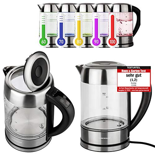 DUNLOP - Hervidor de agua de cristal de 1,7 l, acero inoxidable, con seleccion de temperatura, iluminacion LED, cambio de color segun temperatura, preseleccion de 60 °C – 100 % sin BPA