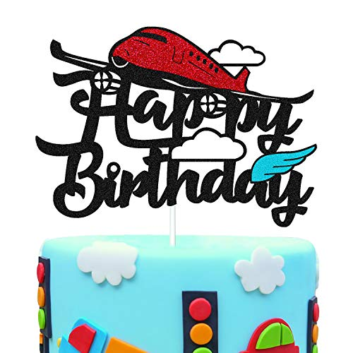 Airplane Birthday Cake Topper Happy Birthday Sign Cake Decorations for Red Airplane Aircraft Plain Travel Themed Kids Little Boy Girl Bday Party Supplies Glitter Black Double Sided