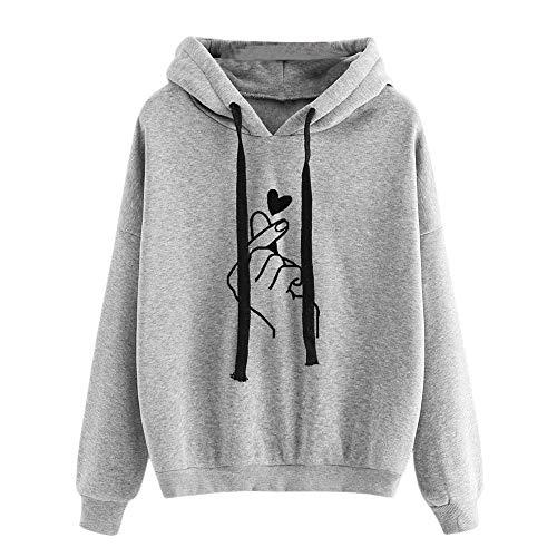 Damen Kapuzenpulli Teenager Mädchen Pullover Hoodie Pulli Sweatshirt Streetwear Langarm Kapuzenpullover Oberteile Bluse Herz Drucken Kapuzen Casual Tops