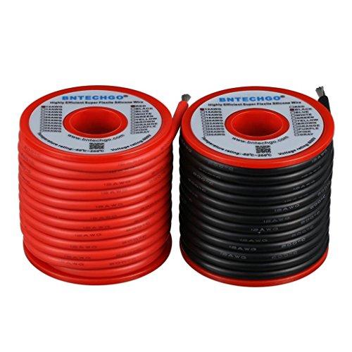 BNTECHGO 12 Gauge Silicone Wire Spool red and Black Each 25ft Flexible 12 AWG Stranded Copper Wire