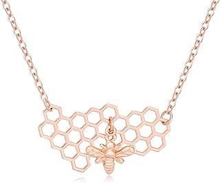 Geometric Bee Hive with Honey Bee Pendant Necklace