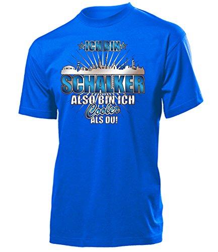 Ich Bin Schalker Also Bin ich Cooler als du 4619 Fussball Fanshirt Fanartikel Fan Geschenk Geburtstag Männer Herren Fun-T-Shirts Blau L
