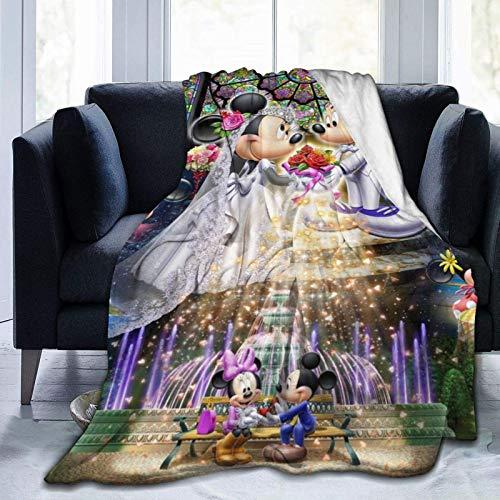 185 Unisex Blankets,Mantas De Franela Unisex De Dibujos Animados Micke-Y Minni-E Mouse, Manta De Franela Plegable para Viajes De Niños Adultos,153x204cm