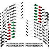 12 x Edificio de borde grueso Etiqueta de rontación exterior Raya Calcomanías de ruedas Fit Ducati Multistrada 1260 1200 1200 S (Color : White)