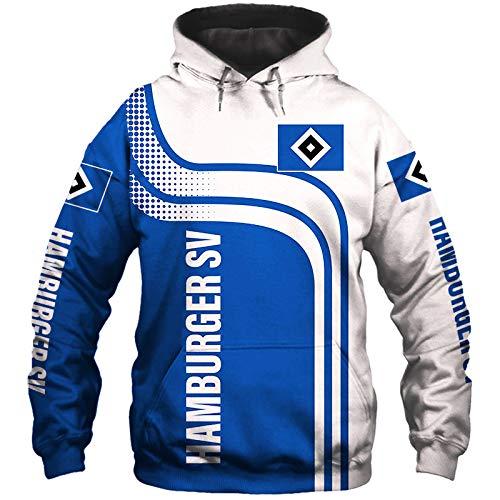 xiaosu Männer Hoodies Jacke Zum Hamburger-Sv 3D Drucken Fußball-Verein-Fan Pullover/Zip Sweatshirts Tops Lose / A1 / XL