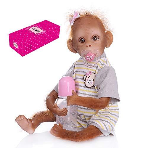 Decdeal 16 Zoll Reborn Baby AFFE Puppe mit Tuch Körper Realistische AFFE Puppe Lebensechte Babypuppe mit Streifen T-Shirt
