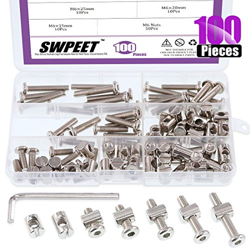 Swpeet 100Pcs Crib Hardware Screws, Nicked Plated M6 x15/20/25/30/35mm Hex Socket Head Cap Crib Baby Bed Bolt and Barrel Nuts with 1 x Allen Wrench Perfect for Furniture, Cots, Crib Screws