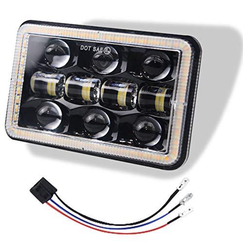Haude 300W 4X6 Pulgadas Bombillas de Faros LED Proyector 30000LM LáMpara de Luz de Cabeza de Haz Alto Bajo con Ojo de áNgel para Cherokee
